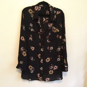 NWOT chiffon style long sleeve floral shirt